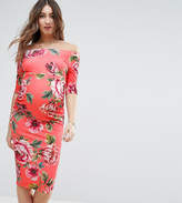Asos Half Sleeve Bardot Dres In Red Base Floral