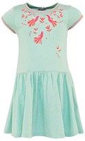 Billieblush Mint Blue Bird Print Dress With Embroiderd Neckline