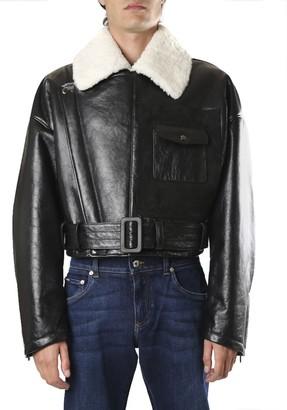 Dolce & Gabbana Leather Jacket With Sheepskin Collar