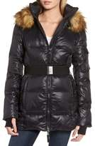 S13/Nyc S13 'Nicky' Quilted Coat with Removable Faux Fur Trimmed Hood