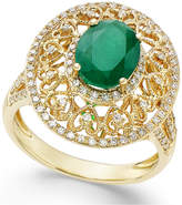 Effy Emerald (1-1/2 ct. t.w.) and Diamond (1/2 ct. t.w.) Antique Ring in 14k Gold