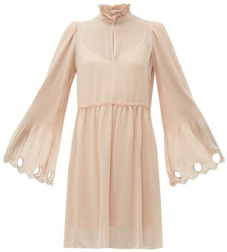 See by Chloe Gathered Plisse Georgette Dress - Womens - Light Pink