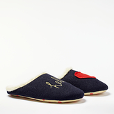 Boden Hello Embroidered Mule Slippers, Navy
