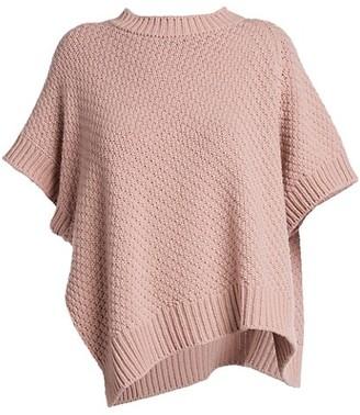 Agnona Asymmetric Short-Sleeve Cashmere & Cotton Knit Sweater