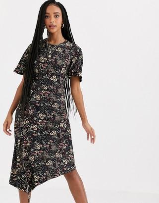 Miss Selfridge midi dress with asymmetric hem in floral print
