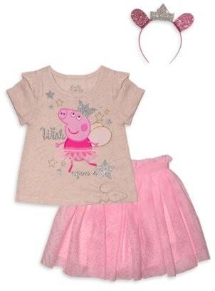 Peppa Pig Baby Girls and Toddler Girls T-shirt, Skirt & Headband, 3-Piece Set