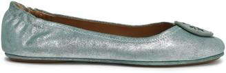 Tory Burch Logo-embellished Metallic Leather Ballet Flats