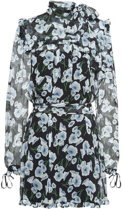Miu Miu Poppy-Print Silk-Chiffon Dress