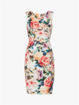 Gina Bacconi Floral Vitina Scuba Bodycon Dress - 10 - Orange/White/Green