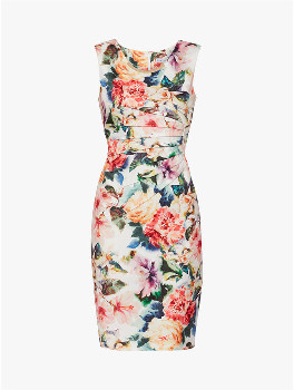 Gina Bacconi Floral Vitina Scuba Bodycon Dress - 10 - Orange/White/Green