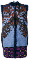 Etro embroidered cardi-gilet - women - Fox Fur/Acrylic/Polyamide/Wool - 46