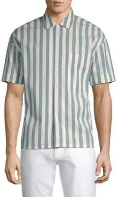Burberry Cotton Button-Front Striped Shirt