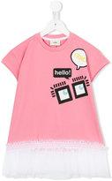 Fendi ruffled T-shirt dress - kids - Cotton/Spandex/Elastane/Polyester - 3 yrs