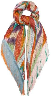 Missoni Fringed Zigzag-knitted Shawl - Womens - Orange Multi