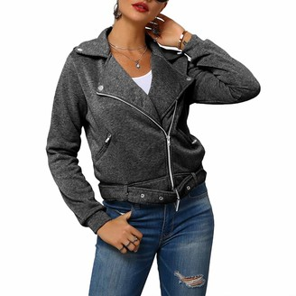Starstreetcom Womens Leather Jackets with Belt Autumn Long Sleeve Zip Up Casual Styles Solid Color Jacket Coat Outwear (Tag 3XL(UK 16)