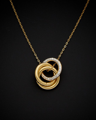 Italian Gold 14K Two-Tone Love Knot Pendant Necklace