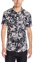 7 For All Mankind Men's Short Sleeve Floral Button Down Shirt