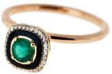 Selim Mouzannar Square Green Tsavorite And Black Enamel Ring