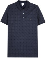 Armani Collezioni Navy Printed Piqué Cotton Polo Shirt
