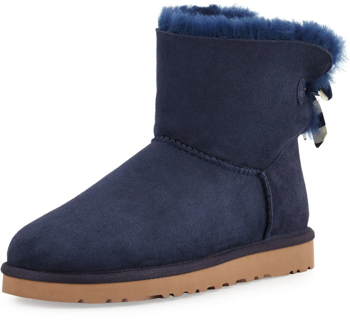 UGG Mini Bailey Striped Bow-Back Boot, Navy