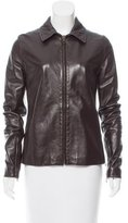 Dolce & Gabbana Pointed Collar Leather Jacket