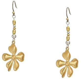 Lucky Brand Floral Beaded Drop Earrings (Two-Tone) Earring