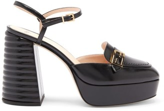 Fendi Promenade Cross-strap Leather Platform Sandals - Black