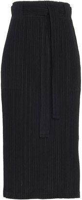 Pleats Please Issey Miyake Bow-Waist Detailed Pleated Skirt