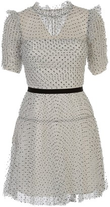 Self-Portrait Dot Mesh Pleated Skirt Mini Dress