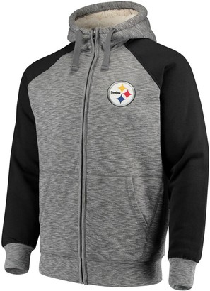 G Iii Men's G-III Sports by Carl Banks Heathered Gray/Black Pittsburgh Steelers Turning Point Sherpa Lined Full-Zip Jacket