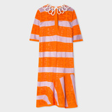 Paul Smith Women's Orange And Violet Striped Dress With Lattice Collar