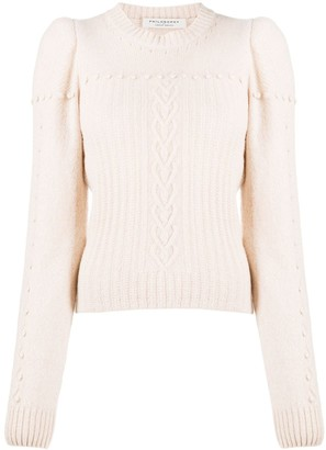 Philosophy di Lorenzo Serafini Juliet sleeved cable-knit sweater