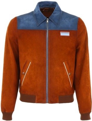 Prada Bicolor Suede Bomber Jacket