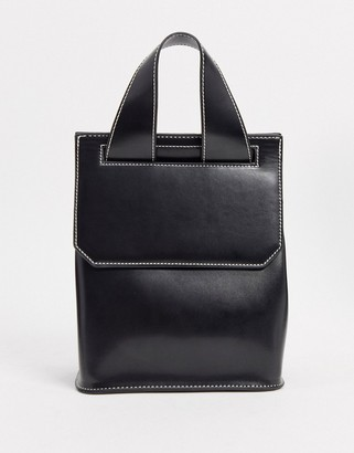 ASOS DESIGN glossed black backpack with contrast top stitch