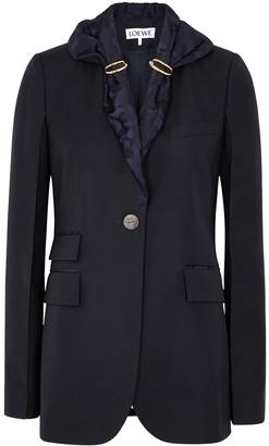 Loewe Navy Scarf-embellished Wool Jacket