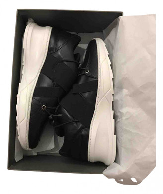 Filling Pieces Black Leather Trainers