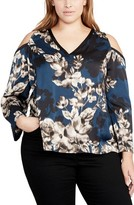 Rachel Roy Plus Size Women's Floral Cold Shoulder Top