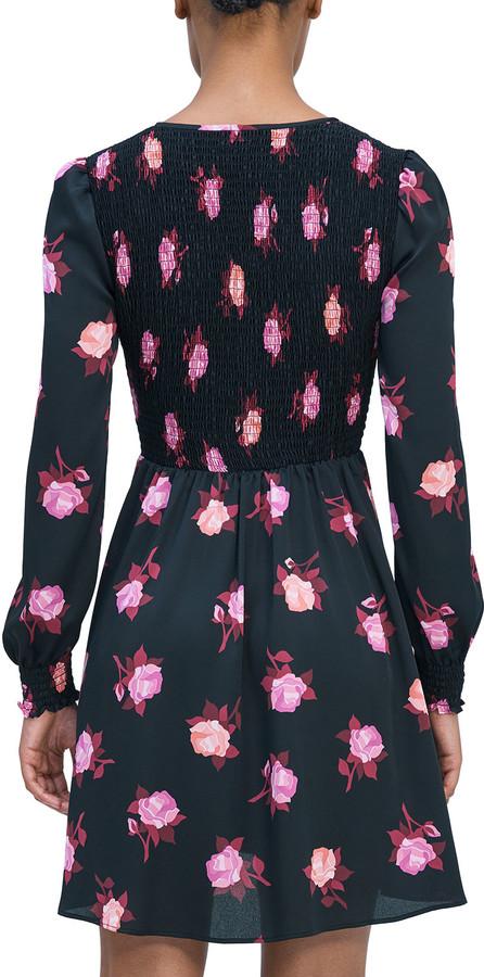 Thumbnail for your product : Kate Spade Rose Garden Smocked Satin Dress