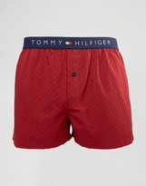 Tommy Hilfiger Woven Boxers In Red