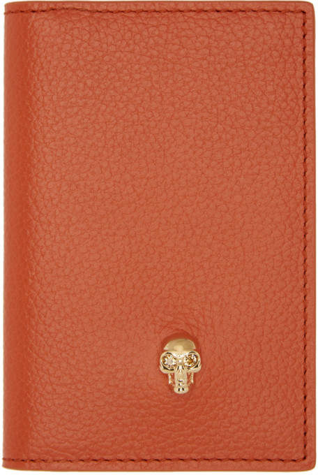 Alexander McQueen Orange Skull Bifold Card Holder