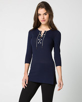 Le Château Viscose Blend Lace-Up Tunic Sweater