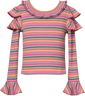 Hannah Banana Girl's Stripe Trumpet-Sleeve Ribbed Knit Ruffle Top, Size 4-6X