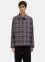 Thom Browne Men's Madras Checked Packable Anorak Jacket In Burgundy