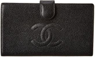 Chanel Black Lambskin Leather Cc Wallet