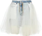 Taverniti So Ben Unravel Project Unravel Tulle Layered Mini Denim Skirt