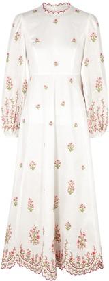 Zimmermann Poppy floral-embroidered linen midi dress