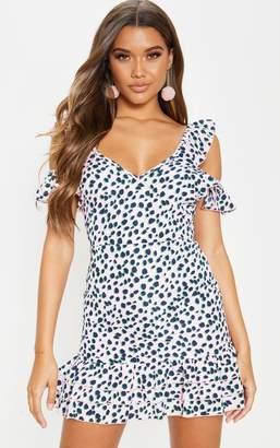 PrettyLittleThing Pink Leopard Print Tie Back Shift Dress