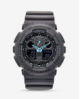 Express g-shock large gray and neon blue watch