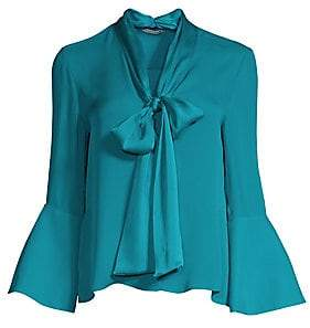 Alice + Olivia Women's Meredith Bell Sleeve Tie-Neck Chiffon Blouse