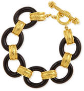 Elizabeth Locke 19k Gold & Black Jade Bracelet